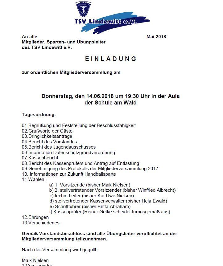Einladung zur Jahreshauptversammlung 2018